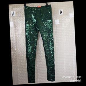 cde72cc6460f6d BANJUL | Emerald Green Sequin Leggings